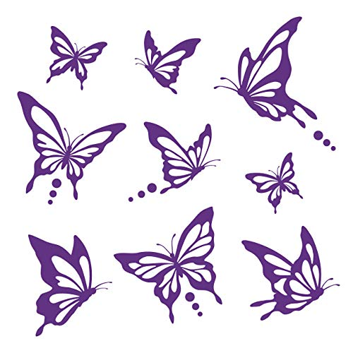 (Decowall DWG-601N_P Modern Butterfly Graphic Kids Wall Decals Wall Stickers Peel and Stick Removable Wall Decals for Kids Nursery Bedroom Living Room (Purple))
