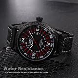 Senolan Mens Classic Casual Business Black Leather Analog Quartz Waterproof Auto Date Wrist Dress Watch