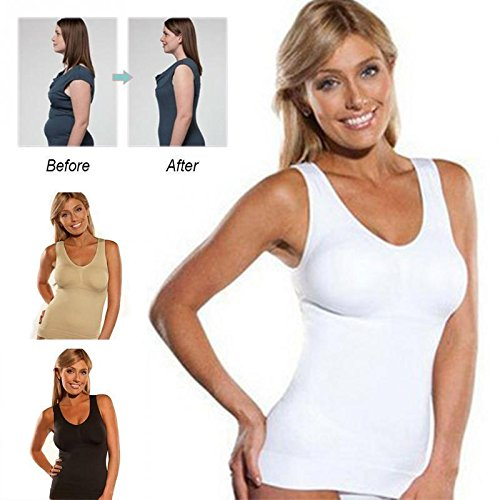 Comfortable Wireless Cami Tank Top SALE Women's Underwire Cups Seamless Tank Top Body Shaper Camisole (XL) by MIXLITE