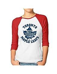 Women's Canada Toronto Maple Leafs Ice Hockey 3/4 Sleeve Baseball Tee Shirt Black (2 Colors)
