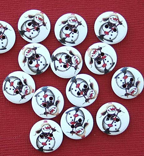 (20 Snowman Buttons Painted Wood Just Adorable with Broom 15m Jewelry Making Supply Pendant Bracelet DIY Crafting by Wholesale Charms)