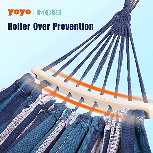 Yoyo Mori 2 Person Hammock with 600lb Laod Capacity,Portable Cotton Canvas Hammocks with Two Anti Roll Balance Beam,Sturdy Metal Knot and Carrying Bag for Travel Patio Garden (Blue Red)