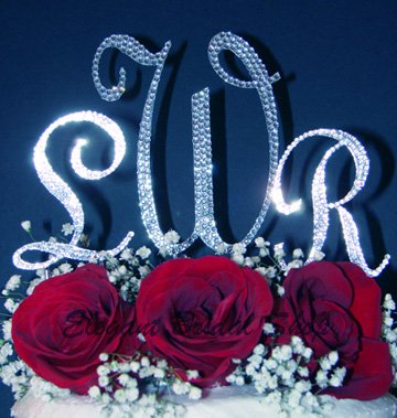 3 Swarovski Crystal Monogram Wedding Cake Top Letters - 1 Large 2 Small