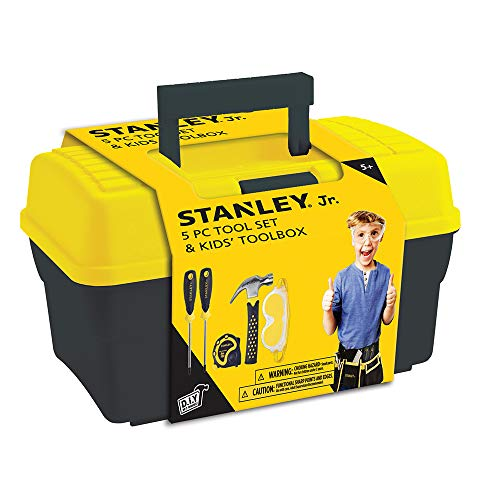 Stanley Jr.. - Tool Box and 5 pcs Set of Tools, Tool Set Ages 5+ (TBS001-05-SY), Mixed ()