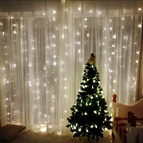 Curtain String Light, Elevin(TM) 2m20LED USB Curtain Lights 3m 300 LED 8 Modes with Control Christmas Party (White)