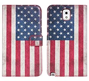 Canicana New USA Flag Pattern PU Leather Cover Case for Samsung Galaxy Note 3 N9000