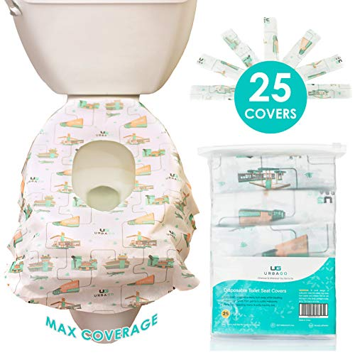 Toilet Seat Cover Disposable XL, 25 Extra Large Disposable Toilet Seat Covers Travel Pack for Kids, Toddlers, Teenagers, & Adults from Germs & Bacteria in Public Restrooms by UrbaGo