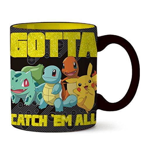 - Silver Buffalo PK112232G Pokemon Starts Gotta Catch 'em All Glitter Ceramic Mug, 14-ounces, Black and Yellow