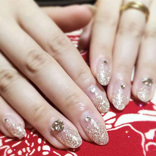 Drecode Bridal Wedding Fake Nails Sliver Bling Rhinestones Full Cover Aryclic Oval False Nails Bride Party Prom Clip Press On Nails for Women and Girls(24Pcs)