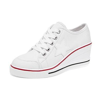 d4e768e140 Damen Sneaker Pumps Keilabsatz Canvas High Heels Plattform Schick Bequem  Turnschuhe Freizeitschuhe #3 White Asiatisch
