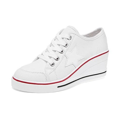 OCHENTA Zapatilla Baja Mujer, Color Blanco, Talla 39.5: Amazon.es: Zapatos y complementos