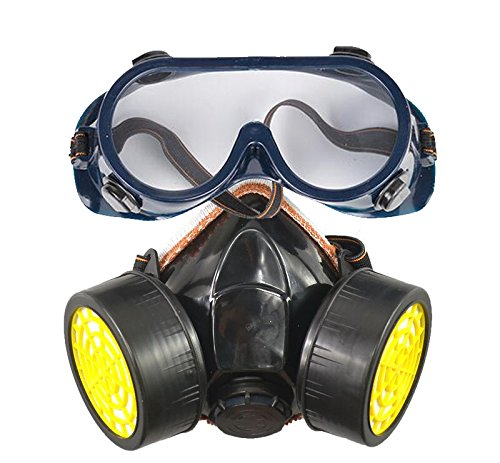 YEHAM Industrial Chemical Gas Anti-Dust Dual Cartridge Filter Respirator Mask Goggles Set (Halloween Costume Made Out Of Boxes)