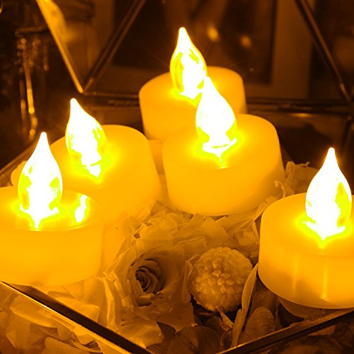 6 PCS Premium Flameless Tealights with Timer, LED Tealights, Battery Powered Tealights, Battery-operated Tea Lights with Timer, Long Battery Life, 200+ Hours Battery Life - 100 Flameless Tea Lights Timer