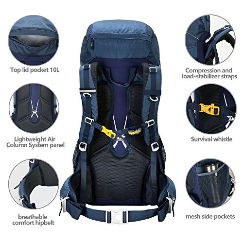 Kimlee Camping Backpack For Hiking Climbing Skiing With Rain Cover 50L High Capacity Traveling Outdoor Hunting Backpack