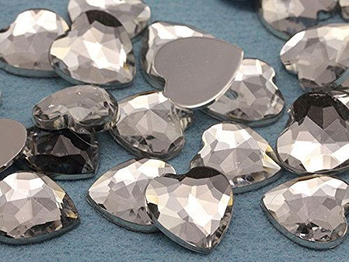 15mm Crystal Clear H102 Flat Back Heart Acrylic Gemstones High Quality Pro Grade - 40 Pieces 15 Mm Clear Acrylic