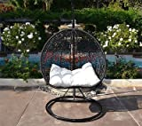 Egg Nest Shaped Wicker Rattan Swing Chair Hanging Hammock 2 Persons Seater - Black / Khaki