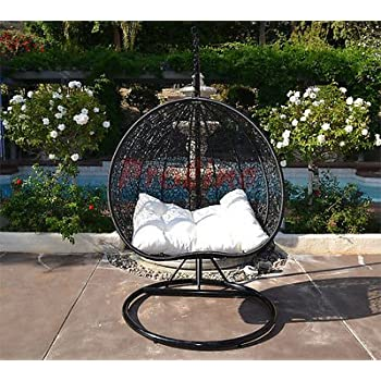 Egg Nest Shaped Wicker Rattan Swing Chair Hanging Hammock 2 Persons Seater    Black / Khaki