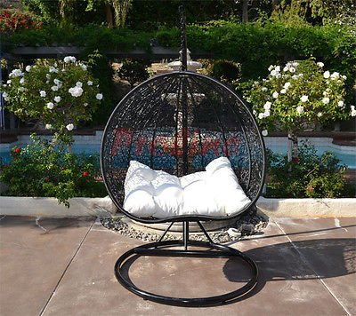Egg Nest Shaped Wicker Rattan Swing Chair Hanging Hammock 2 Persons Seater - Black / Khaki (Hanging Rattan Egg Chair)