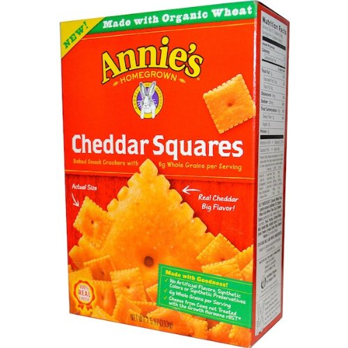 Annies Homegrown Organic Cheddar Squares Cracker, 7.5 Ounce - 12 per case