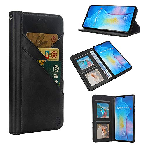 Price comparison product image Futanwei Leather Wallet Case for Huawei Mate 20 [NOT fit Mate20pro],  Multi-Functional Folding Flip Full Body Protective Business Cover with [Card Slots+Cash Pocket+Photo Frame+Magnetic Closure]-Black