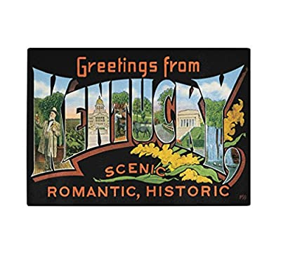 Greeting From Kentucky #2 Kitchen Bar Glass Cutting Board