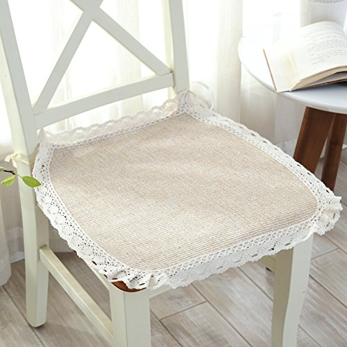 YQ WHJB Dining Chairs pad,Nonslip Seat Cushions,Decorative Thin Mats with Ties Universal Four Seasons Chair Cushion Seat pad-Beige 50x50cm(20x20inch) by YQ WHJB