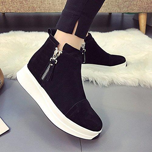 inferior grueso Martín tubo Mujer Otoño estudiante Invierno botas impermeable de Zapatos HDYS Black corto aw1q7YXx