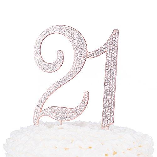 Ella Celebration 21 Cake Topper for 21st Birthday Party Rose Gold Metal Number Decoration Rose Gold