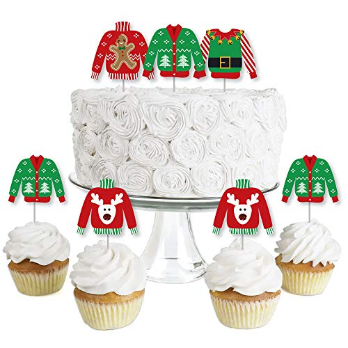 Ugly Sweater - Dessert Cupcake Toppers - Holiday & Christmas Party Clear Treat Picks - Set of 24