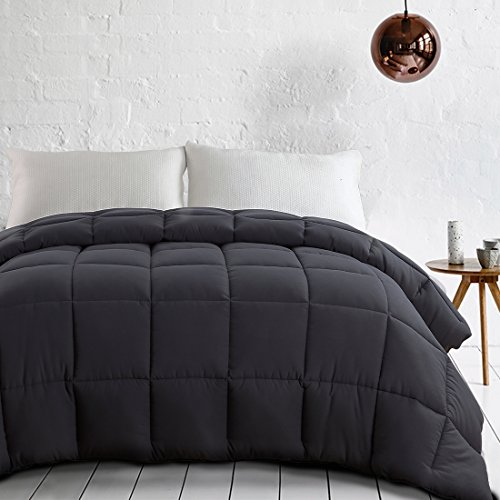 EDILLY Luxury Down Alternative Quilted King Comforter-Stand Alone Comforter for King Size Bed,Year Round Duvet Insert with 4 Corner Tabs,90''x 102'',Dark Grey