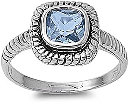 Sterling Silver Rope Design Ring with Square Light Blue CZ Stone