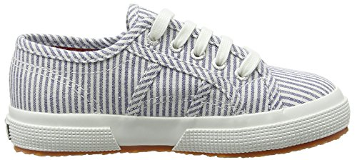 Superga 2750 Cotjshirt, Unisex Kinder Sneakers, Weiß (903 White/Stripes Blue), 30 EU (11.5 UK)
