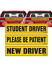 TOTOMO New Driver Magnet Highly Reflective Premium Quality Car Safety Caution Sign for New Student Drivers