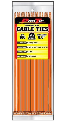 Pro Tie OR8SD100 8-Inch Orange Standard Duty Color Cable Tie, Orange Nylon, by Pro Tie