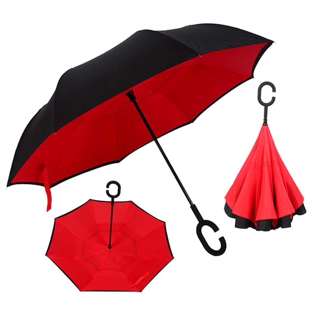 Kindes Creative Reverse Double Layer Umbrella Windproof Car Standing Rain Protection Stick Umbrellas 105x105x80cm