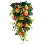 26'' Artificial Apple, Magnolia Leaf & Pinecone Door Teardrop Swag -Red/Green (pack of 2)