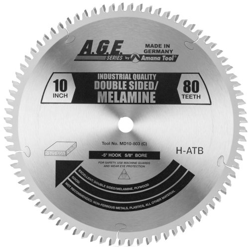 A.G.E. Series by Amana Tool MD10-803 Double Sided Melamine 10-Inch Diameter by 80-Teeth by 5/8-Inch Bore, H-ATB Grind Carbide Tipped Saw Blade ()
