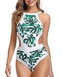 Holipick Women One Piece Swimsuit High Neck Floral Cutout Swimwear White S