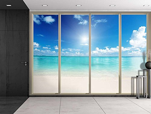 Blue Ocean on a Clear Sunny Day Viewed From Sliding Door Creative Wall Mural Peel and Stick Wallpaper