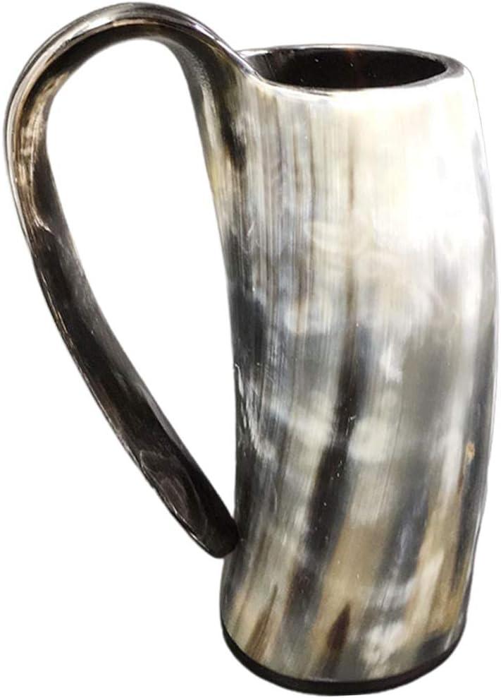 kdjsic Taza de Cuerno de búfalo de Buey 100% Natural Hecha a Mano Tazas vikingas para Beber Cerveza Taza de Cuerno para Beber auténtica inspiración Medieval