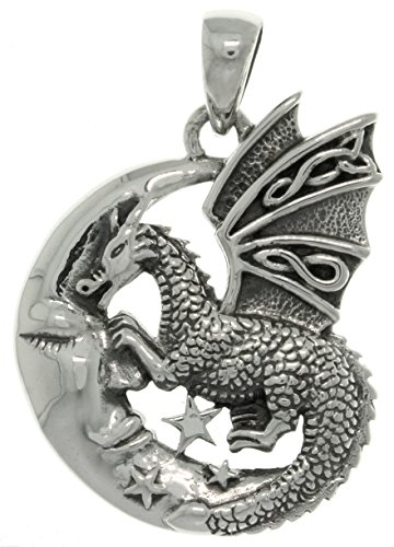Jewelry Trends Sterling Silver Moon and Dragon Celtic Knot Pendant (Celtic Plain Sterling Pendants Silver)