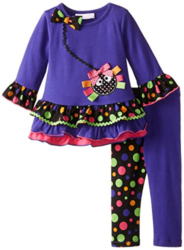 Bonnie Baby Baby Girls' Halloween Spider Legging Set, Purple, 12 Months