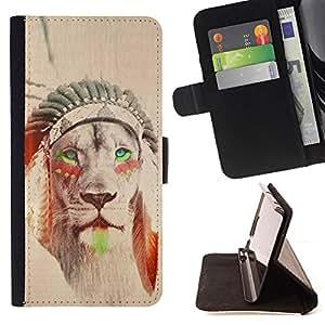 BullDog Case - FOR/Samsung Galaxy Note 4 IV / - / lion native American Indian sepia feather /- Monedero de cuero de la PU Llevar cubierta de la caja con el ID Credit Card Slots Flip funda de cuer