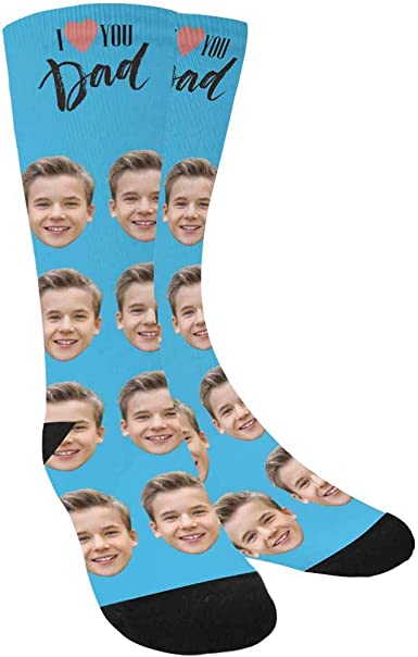 Happy Fathers Day on Blue Socks Lovely Fathers Day Gift