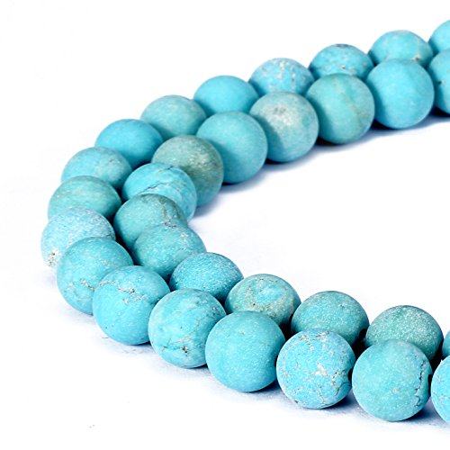 BRCbeads Chinese Turquoise Natural Gemstone Loose Beads 8mm Matte Round Crystal Energy Stone Healing Power for Jewelry Making- Green Green Turquoise Beads