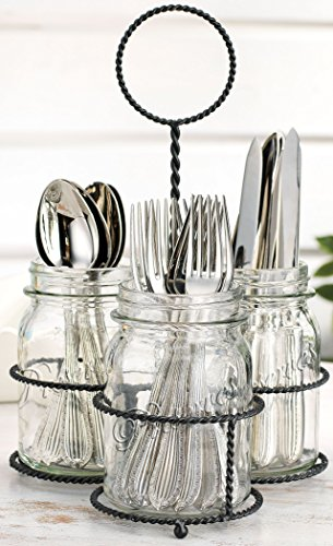 4 Piece Flattware Mason Caddy Organizer Set, 3 Clear Glass Mason Jars (Mugs) on Black Twisted Wire Basket with Loop Handle,cutlery Utensil Holder or For Elegant Flower Vase