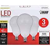 Feit Electric A1560C/10KLED/3 60W Equivalent Frost Non-Dimmable Candelabra Base LED Light Bulb (3 Pack), Warm White