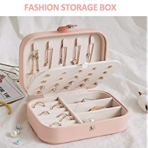LATIT Jewellery Box Organiser Small Travel PU Leather Jewelry Storage Case for Rings Earrings Necklace Bracelets Faux Leather Jewelry Gift Box Girls Women