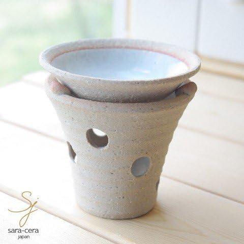 松助窯 手作り茶香炉セット 白釉 ホワイト アロマ 和食器 リビング