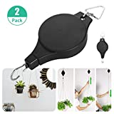 2-pack Plant Retractable Pulley, EEEkit Hanger Hanging Planters Flower Basket Hook for Garden Baskets, Pots and Birds Feeder Hang (High Up and Pull Down)